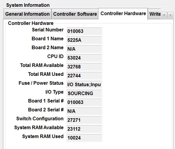 Pathfinder Controller Hardware Tab