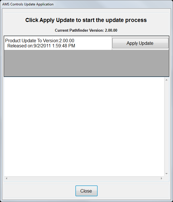 Updating Pathfinder Start Update Screen