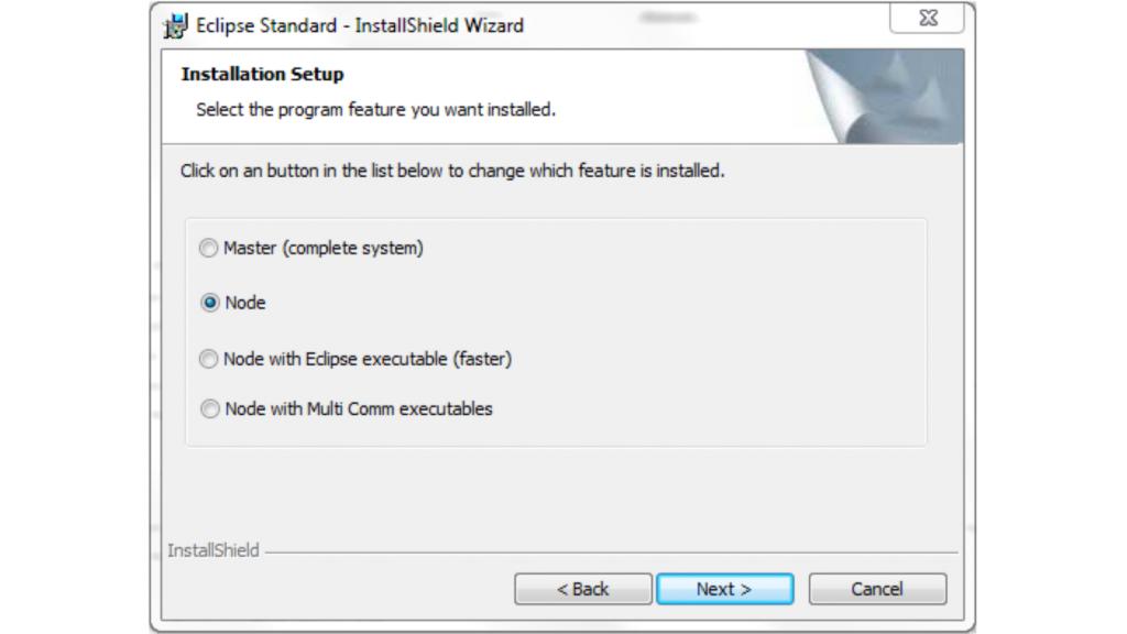 Eclipse Multi User Installer choose node